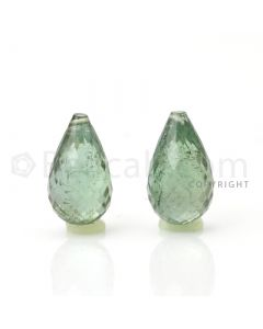2 pcs - Light Green - Tourmaline Faceted Drops (AAA) - 9.61 cts. (TFD1017)