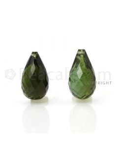 2 pcs - Dark Green - Tourmaline Faceted Drops (AAA) - 8.65 cts. (TFD1018)