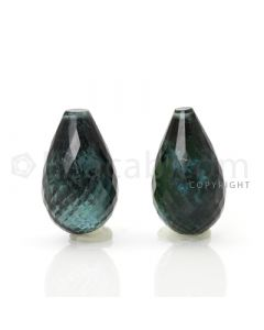2 pcs - Dark Green - Tourmaline Faceted Drops (AAA) - 14.71 cts. (TFD1019)