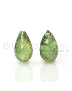 2 pcs - Light Green - Tourmaline Faceted Drops (AAA) - 10.71 cts. (TFD1020)