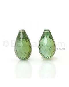 2 pcs - Dark Green - Tourmaline Faceted Drops (AAA) - 10.06 cts. (TFD1021)