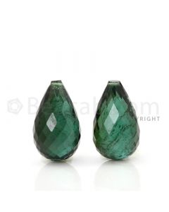2 pcs - Dark Green - Tourmaline Faceted Drops (AAA) - 13.47 cts. (TFD1022)