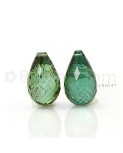2 pcs - Medium Green - Tourmaline Faceted Drops (AAA) - 10.93 cts. (TFD1028)