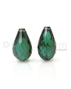 2 pcs - Dark Green - Tourmaline Faceted Drops (AAA) - 12.47 cts. (TFD1030)