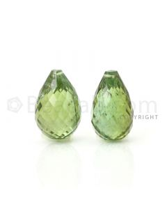 2 pcs - Medium Green - Tourmaline Faceted Drops (AAA) - 11.31 cts. (TFD1032)