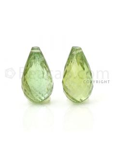 2 pcs - Light Green - Tourmaline Faceted Drops (AAA) - 12.91 cts. (TFD1038)