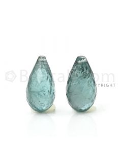 2 pcs - Medium Green - Tourmaline Faceted Drops (AAA) - 10.34 cts. (TFD1043)