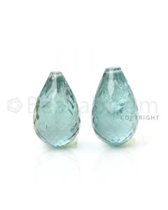 2 pcs - Light Green - Tourmaline Faceted Drops (AAA) - 27.84 cts. (TFD1044)