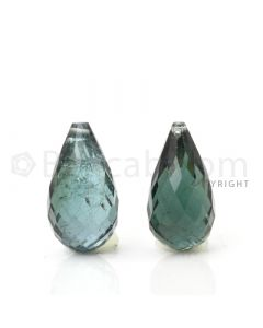 2 pcs - Dark Green - Tourmaline Faceted Drops (AAA) - 11.27 cts. (TFD1046)