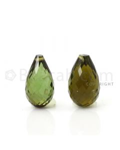 2 pcs - Medium Green - Tourmaline Faceted Drops (AAA) - 10.08 cts. (TFD1048)
