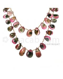 2 pcs - Dark Pink - Tourmaline Faceted Drops (AAA) - 300 cts. (TFD1051)