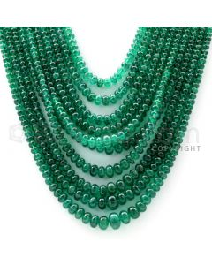 10 Lines - 2.90 to 8.10 mm - Dark Green Emerald Smooth Beads - 528.5 cts. (EMSB1046)