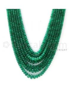 7 Lines - 2.90 to 7.70 mm - Dark Green Emerald Smooth Beads - 324 cts. (EMSB1047)