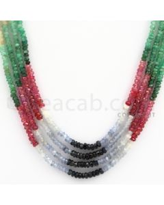 2.50 to 3.00 mm - Emerald, Ruby, Sapphire, Multi Sapphire Faceted Beads - 111.30 carats - 15 to 16 inches (MSFBwE1001)