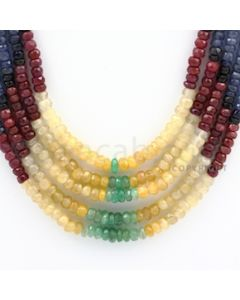 3.00 to 4.50 mm - Emerald, Ruby, Sapphire, Multi Sapphire Faceted Beads - 287.20 carats - 16 to 18 inches (MSFBwE1003)