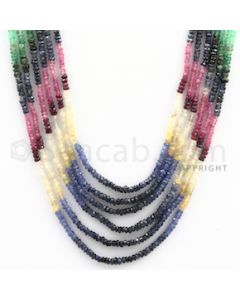 2.50 to 2.50 mm - Emerald, Ruby, Sapphire, Multi Sapphire Faceted Beads - 154.25 carats - 14 to 17 inches (MSFBwE1007)