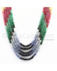 2.50 to 3.25 mm - Emerald, Ruby, Sapphire, Multi Sapphire Faceted Beads - 159.25 carats - 16 to 18 inches (MSFBwE1008)