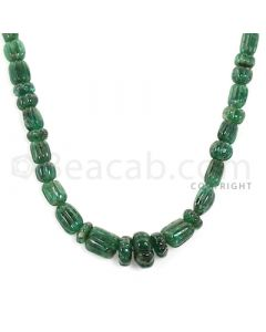 1 Line - Green Emerald Carved Beads - 185.60 cts - 6.7 x 3.2 mm to 13 x 6.7 mm (EMCRB1015)