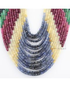 2.50 to 3.50 mm - Emerald, Ruby, Sapphire, Multi Sapphire Faceted Beads - 457.10 carats - 13 to 19 inches (MSFBwE1010)