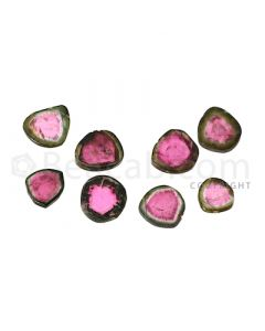 8 pcs - Watermelon (Bi-Color) Tourmaline Slices - 86.50 cts - 15.1 x 4.8 x 2.7 mm to 9.6 x 7.5 x 3.6 mm (TOUSL1033)