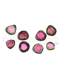 8 pcs - Watermelon (Bi-Color) Tourmaline Slices - 86.50 cts - 15.1 x 4.8 x 2.7 mm to 9.6 x 7.5 x 3.6 mm (TOUSL1033)