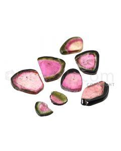 8 pcs - Watermelon (Bi-Color) Tourmaline Slices - 50.00 cts - 11.4 x 7.9 x 2.2 mm to 20.1 x 11.5 x 3.5 mm (TOUSL1044)