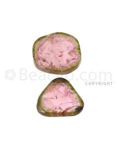 2 pcs - Watermelon (Bi-Color) Tourmaline Slices - 20.00 cts - 19.1 x 18.3 x 3 mm (TOUSL1040)
