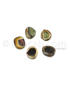 3 pcs - Watermelon (Bi-Color) Tourmaline Slices - 7.71 cts - 7.9 x 6.7 x 3 mm to 8.5 x 6.8  2.9 mm (TOUSL1075)