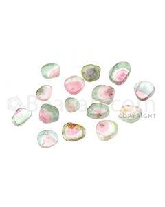13 pcs - Watermelon (Bi-Color) Tourmaline Slices - 16.35 cts - 5.1 x 5.6 x 1.7 mm to 9 x 6.5 x 2.5 mm (TOUSL1066)