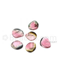 6 pcs - Watermelon (Bi-Color) Tourmaline Slices - 5.68 cts - 7.5 x 6.4 x 1.9 mm to 9 x 6.7 x 1.5 mm (TOUSL1081)