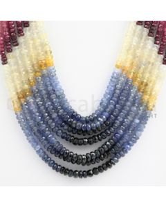 2.50 to 4.00 mm - Emerald, Ruby, Sapphire, Multi Sapphire Faceted Beads - 284.50 carats - 14 to 17 inches (MSFBwE1020)