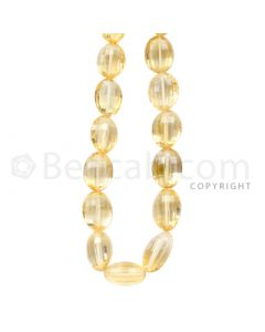1 Line - Light Yellow Citrine Faceted Tumbled Beads - 212 cts - 11.1 x 9 to 15.5 x 10.7 mm (CITFT1001)