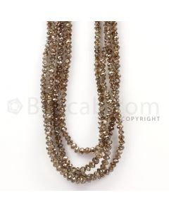4 Lines - Champagne Diamond Faceted Beads - 176.37 cts - 3.6 to 4.5 mm (BRNDIA1039)