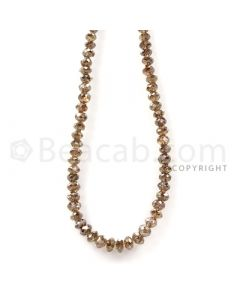 1 Line - Champagne Diamond Faceted Beads - 44.45 cts - 3 to 4.5 mm (BRNDIA1044)