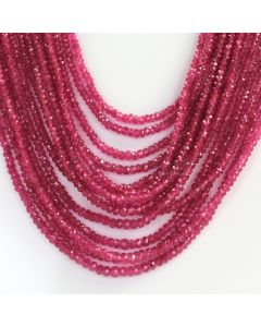 14 Lines - Medium Red Faceted Ruby  Beads - 481.00 - 2 to 3.6 mm (RFB1102)