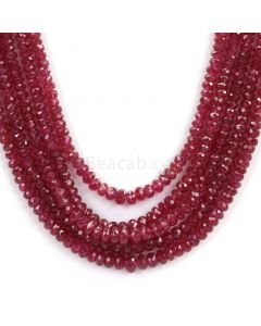 5 Lines - Faceted Dark Red Ruby Beads - 344.50 - 2.9 to 5.2 mm (RFB1103)