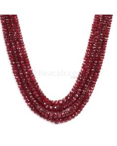 4 Lines - Dark Red Faceted Ruby Beads - 204.79 - 2.3 to 5.3 mm (RFB1095)