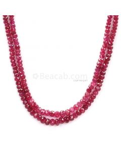 2 Lines - Medium Red Faceted Ruby Beads - 95.82 - 2.5 to 4.5 mm (RFB1099)