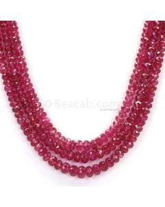 3 Lines - Medium Red Faceted Ruby Beads - 179.71 - 2.8 to 5.2 mm (RFB1098)