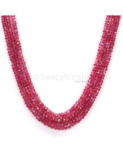 3 Lines - Medium Red Faceted Ruby Beads - 99.60 - 2.3 to 3.9 mm (RFB1100)
