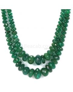 2 Lines - Dark Green Emerald Faceted Beads - 281.00 - 2.8 to 13.3 mm (EMFB1047)