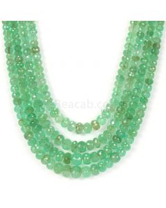4 lines - Light Green Emerald Faceted Beads - 340..05 - 3 to 7.8 mm (EMFB1045)
