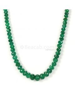 1 Lines - Dark Green Emerald Faceted Beads - 63.50 - 3.2 to 7.2 mm (EMFB1052)