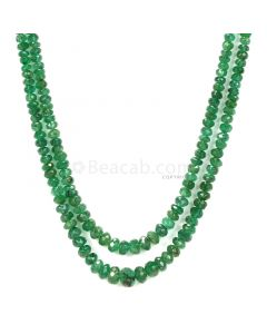 2 Lines - Medium Green Emerald Faceted Beads - 112.80 - 2.5 to 6.7 mm (EMFB1100)