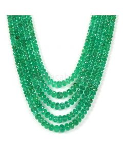 5 Lines - Medium Green Emerald Faceted Beads - 261.15 - 3.1 to 6.9 mm (EMFB1079)