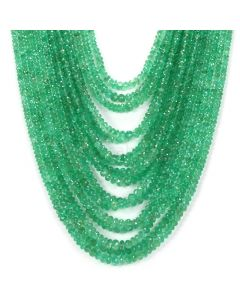 16 Lines - Medium Green Emerald Faceted Beads - 1155.65 - 2.6 to 6.7 mm (EMFB1088)