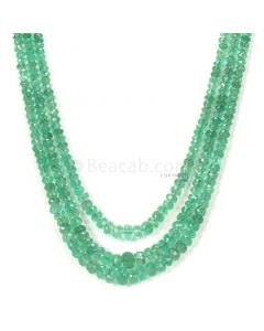 3 Lines - Light Green Emerald Faceted Beads - 123.00 - 2.4 to 6.1 mm (EMFB1097)