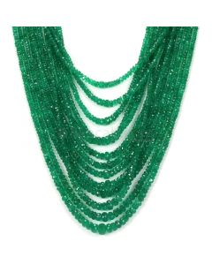 13 Lines - Dark Green Emerald Faceted Beads - 511.12 - 2.2 to 8 mm (EMFB1062)