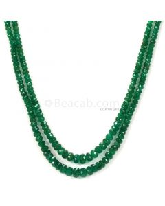 2 Lines - Medium Green Emerald Faceted Beads - 90.18 - 2.8 to 5.8 mm (EMFB1057)