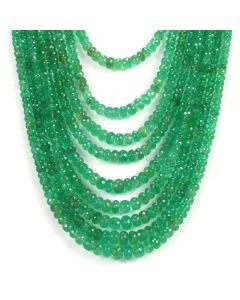 9 Lines - Medium Green Emerald Faceted Beads - 641.33 - 3.2 to 8.2 mm (EMFB1056)
